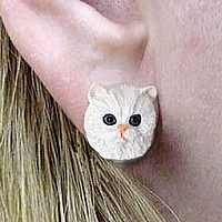 White Persian Earrings Post