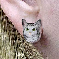 Silver Tabby Maine Coon Cat Earrings Post