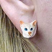 White Oriental Shorthaired Earrings Post