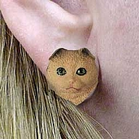 Brown Tabby Scottish Fold Earrings Post