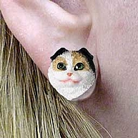 Tortoise & White Scottish Fold Earrings Post