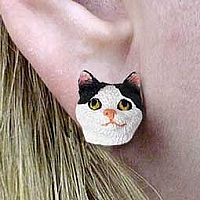 Black & White Manx Earrings Post