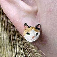 Tortoise & White Japanese Bobtail Earrings Post