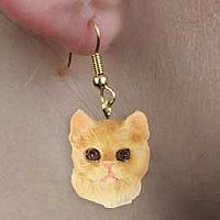 Red Shorthaired Tabby Cat Earrings Hanging