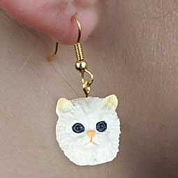 White Persian Earrings Hanging