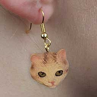Red Tabby Manx Earrings Hanging