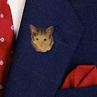 Brown Tabby Maine Coon Cat Pin