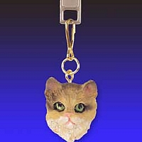 Brown Shorthaired Tabby Cat Zipper Charm
