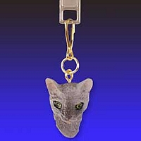 Blue Cornish Rex Zipper Charm