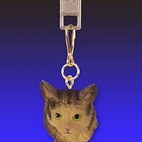 Brown Maine Coon Cat Zipper Charm