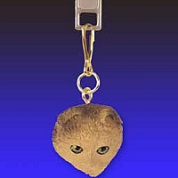 Brown Tabby Scottish Fold Zipper Charm