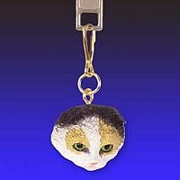 Tortoise & White Scottish Fold Zipper Charm