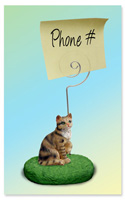 Brown Shorthaired Tabby Cat Memo Holder