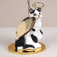 Black & White Shorthaired Tabby Cat Pet Angel Ornament