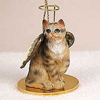 Brown Shorthaired Tabby Cat Pet Angel Ornament
