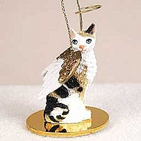 Tortoise & White Cornish Rex Pet Angel Ornament
