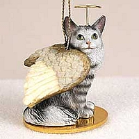 Silver Tabby Maine Coon Cat Pet Angel Ornament