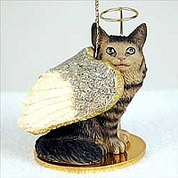 Brown Tabby Maine Coon Cat Pet Angel Ornament