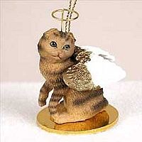 Brown Tabby Scottish Fold Pet Angel Ornament