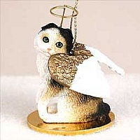 Tortoise & White Scottish Fold Pet Angel Ornament