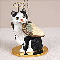 Black & White Manx Pet Angel Ornament
