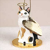 Tortoise & White Japanese Bobtail Pet Angel Ornament