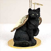 Black Shorthaired Tabby Cat Pet Angel Ornament