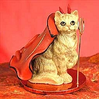 Red Shorthaired Tabby Cat Devilish Pet Figurine