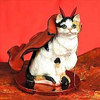 Calico Shorthaired Devilish Pet Figurine