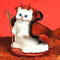 White Persian Devilish Pet Figurine