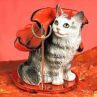 Silver Tabby Maine Coon Cat Devilish Pet Figurine