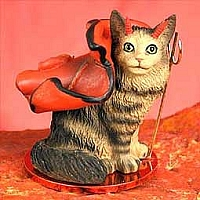 Brown Maine Coon Cat Devilish Pet Figurine