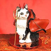 Black & White Manx Devilish Pet Figurine