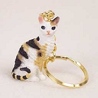 Tortoise & White Cornish Rex Key Chain
