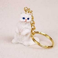 White Persian Key Chain