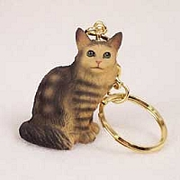 Brown Tabby Maine Coon Cat Key Chain
