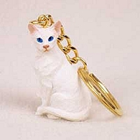 White Oriental Shorthaired Key Chain