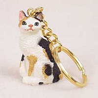 Tortoise & White Japanese Bobtail Key Chain
