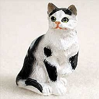 Black & White Shorthaired Tabby Cat Tiny One Figurine