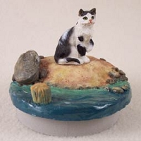 Black & White Shorthaired Tabby Cat Candle Topper Tiny One