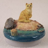 Shorthaired Red Tabby Cat Candle Topper Tiny One
