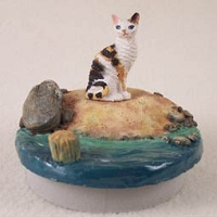 Tortoise & White Cornish Rex Cat Candle Topper Tiny One