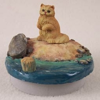 Red Persian Cat Candle Topper Tiny One
