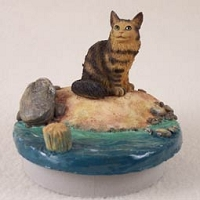 Brown Maine Coon Cat Candle Topper Tiny One