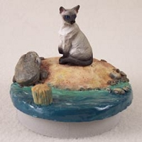 Siamese Cat Candle Topper Tiny One