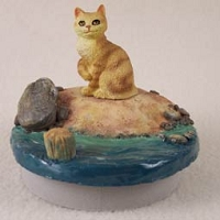 Red Tabby Manx Cat Candle Topper Tiny One