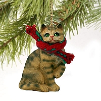 Brown Shorthaired Tabby Cat Original Ornament