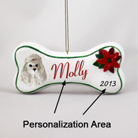 Poodle Gray Bone Ornament (Personalize-It-Yourself)