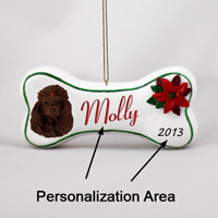Poodle Chocolate Bone Ornament (Personalize-It-Yourself)