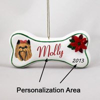 Yorkshire Terrier Bone Ornament (Personalize-It-Yourself)